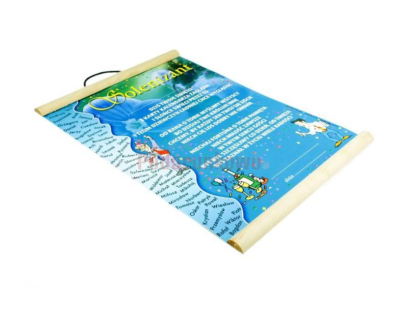 Dyplom charakteryzuje się ciekawą i kolorową grafiką. Wykonany jest na papierze ozdobnym, z dodatkami drewna. Wspaniały prezent z okazji imienin.