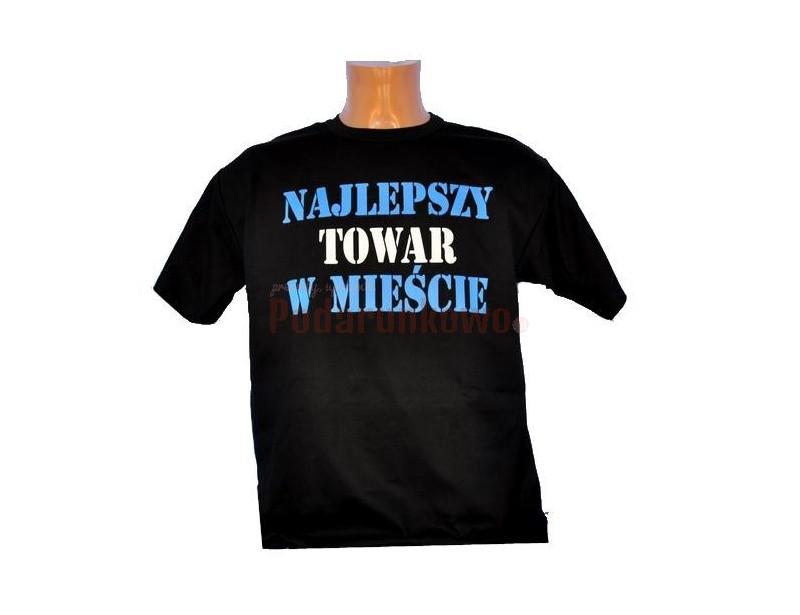"""Bardzo wysokiej jakości koszulka ze śmiesznym nadrukiem. Wyjątkowy napis na koszulce """"Najlepszy towar w mieście"""" bez wątpienia wywoła uśmiech na twarzy wszystkich wokoło."""
