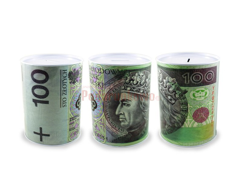 Skarbonka z nadrukiem banknotu 100 złotych może być prezentem na wiele okazji, przyciąga uwagę i wywołuje pozytywne reakcje obdarowanego.