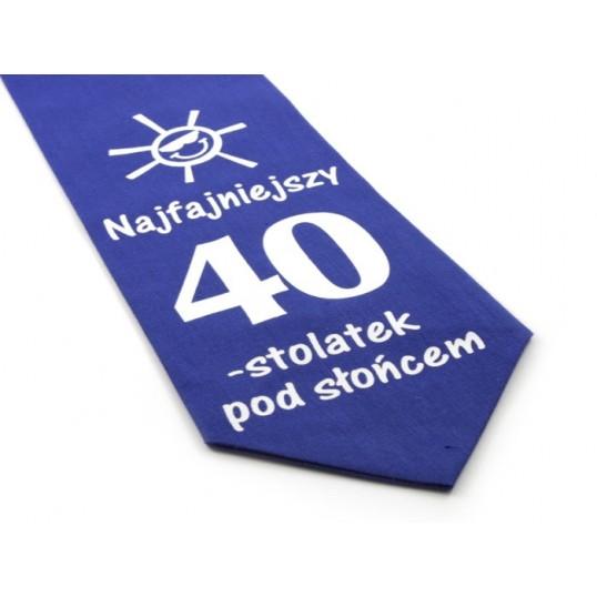 Krawat z humorem - Najfajniejszy 40-stolatek pod słońcem (niebieski)
