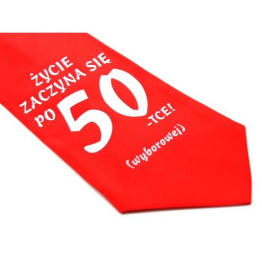 Krawat z humorem - Życie zaczyna się po 50-tce (czerwony)