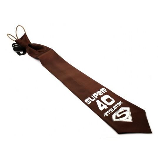 Krawat z humorem - Super 40-stolatek (brązowy)