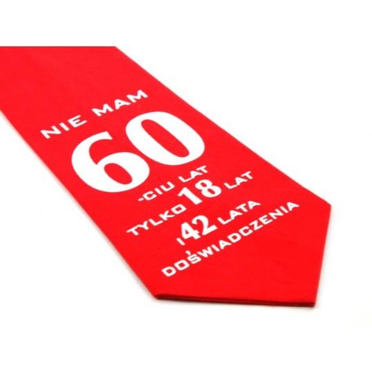 Krawat z humorem - Nie mam 60-ciu lat (czerwony)