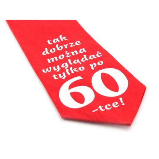 Krawat z humorem - Tak dobrze można wyglądać tylko po 60-tce (czerwony)
