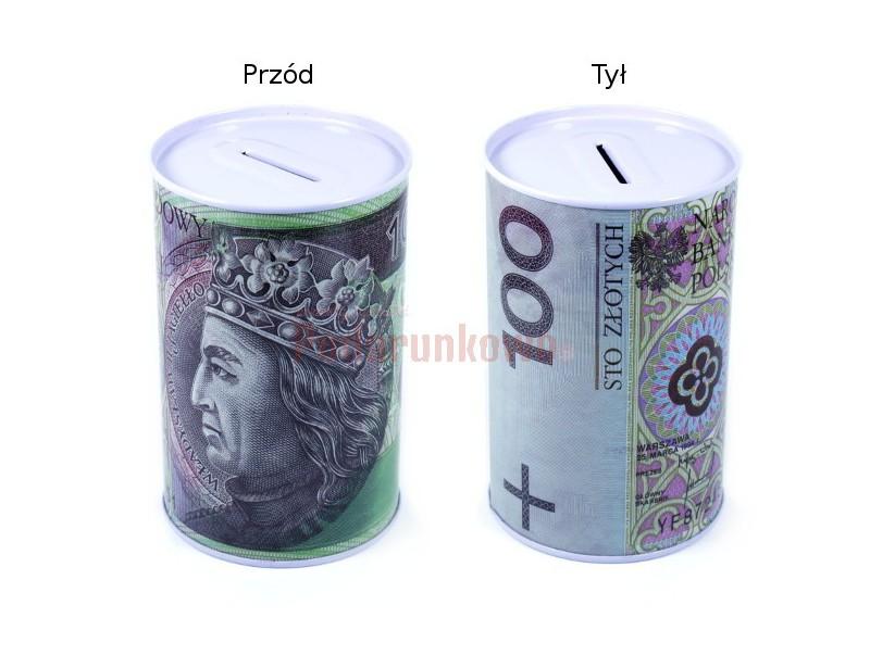 Skarbonka z nadrukiem banknotu 200 złotych może być prezentem na wiele okazji, przyciąga uwagę i wywołuje pozytywne reakcje obdarowanego.