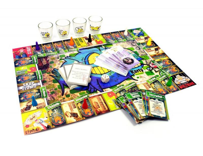 Oryginalna gra towarzyska Żulobiznes jest inspirowana znaną wszystkim grą Eurobiznes :) Z tą tylko róźnicą, że wygrywa ten, kto ma jednocześnie najlepszą głowę do interesów i do... picia.