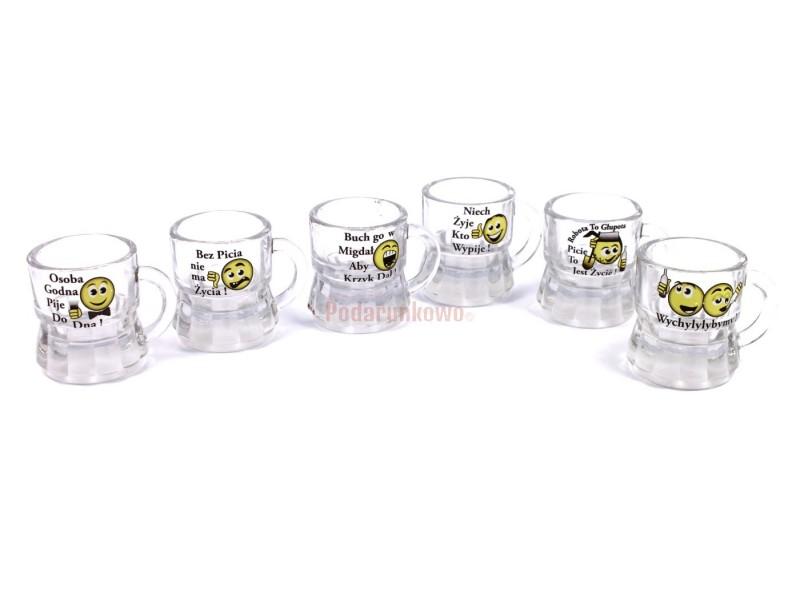 Szklane kieliszki z zabawnymi nadrukami są świetnym prezentem dla kolegi z pracy, szwagra, wujka lub męża.