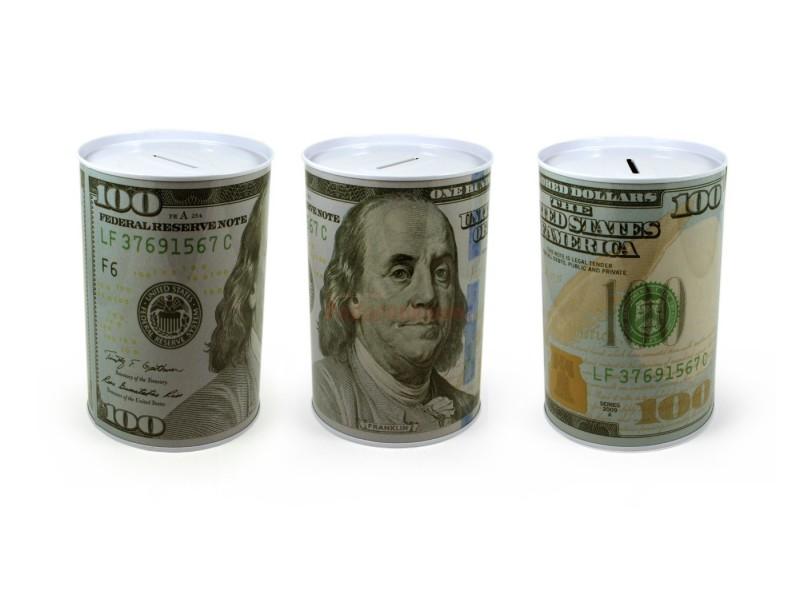 Metalowa skarbonka z nadrukiem symbolicznego dolara może być prezentem na wiele okazji, przyciąga uwagę i wywołuje pozytywne reakcje obdarowanego