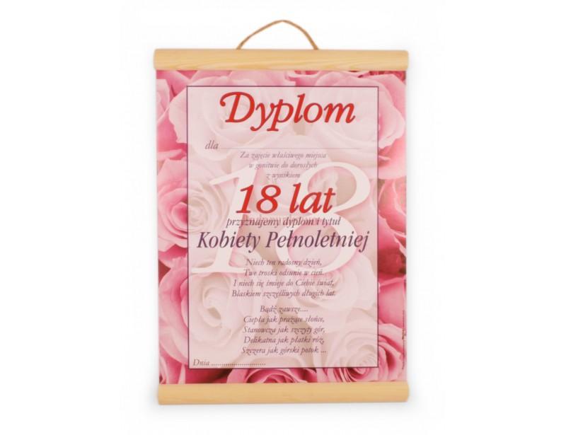 Prezentowany dyplom to oryginalny sposób na wyrażenie życzeń z okazji 18 urodzin.