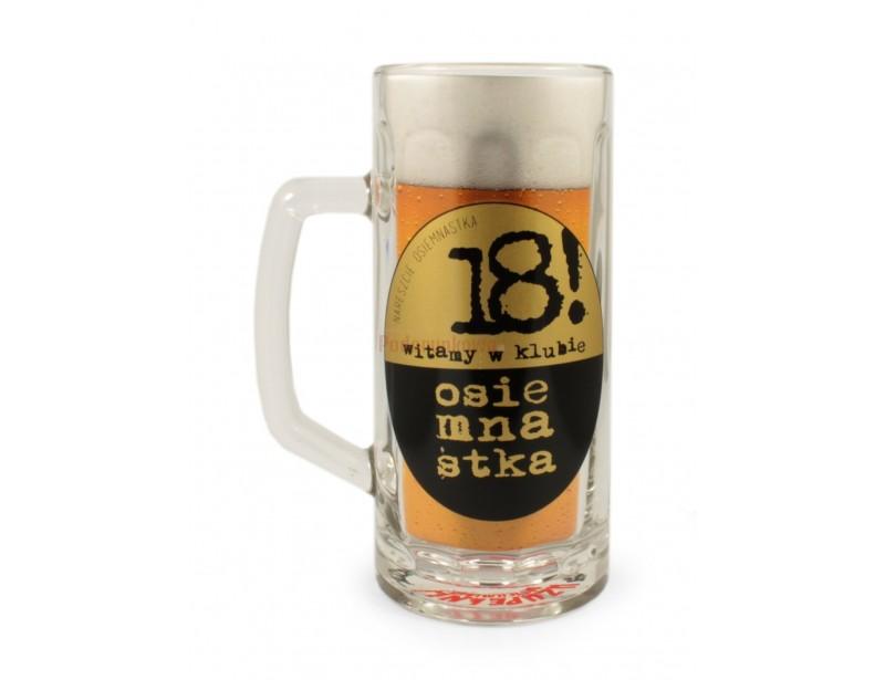 Oryginalny, ładny kufel wykonany z grubego i solidnego szkła, będzie doskonałym prezentem dla 18-letniego miłośnika i smakosza piwa :)