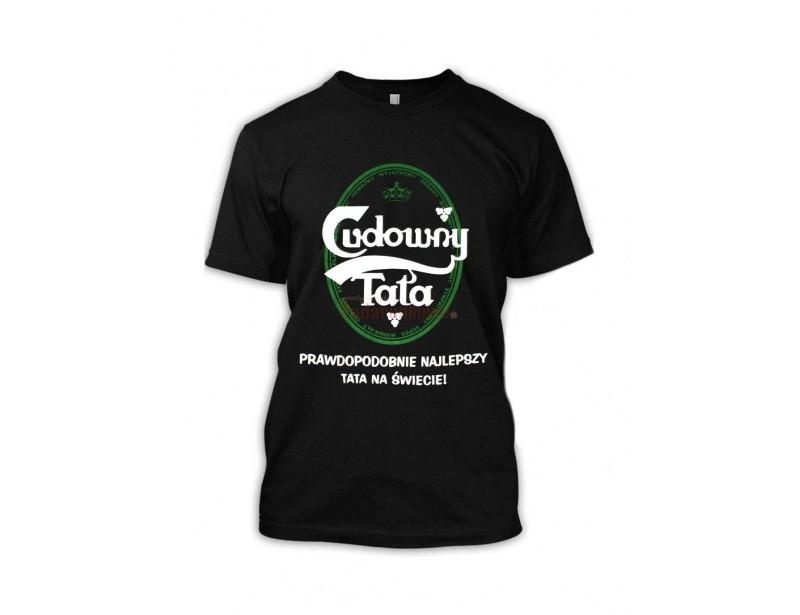 """Bawełniana koszulka z napisem """"Cudowny Tata"""" będzie zabawnym prezentem dla Twojego Taty z okazji Dnia Ojca, imienin lub urodzin :)"""