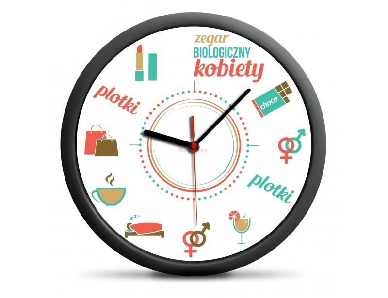 To zegar ścienny, który z humorem przedstawia potrzeby kobiet :)