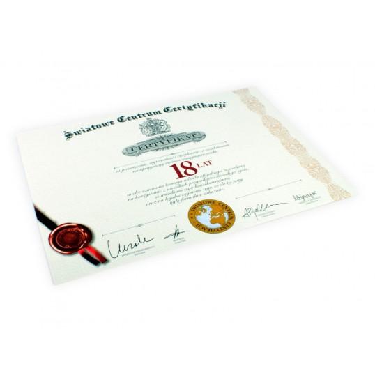 Certyfikat na 18 urodziny