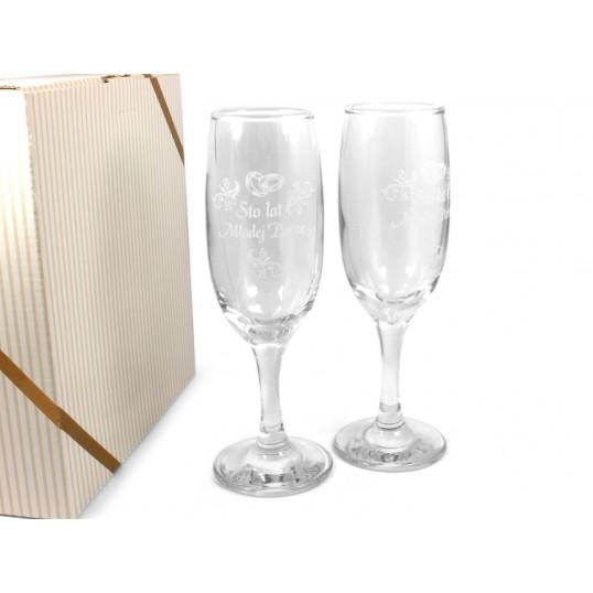 Kieliszki do szampana 2szt. - Sto lat Młodej Parze