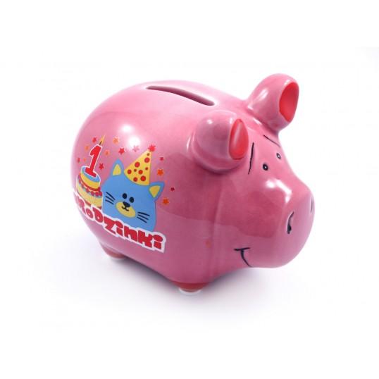Świnka skarbonka - Na 1 urodzinki (dla dziewczynki)