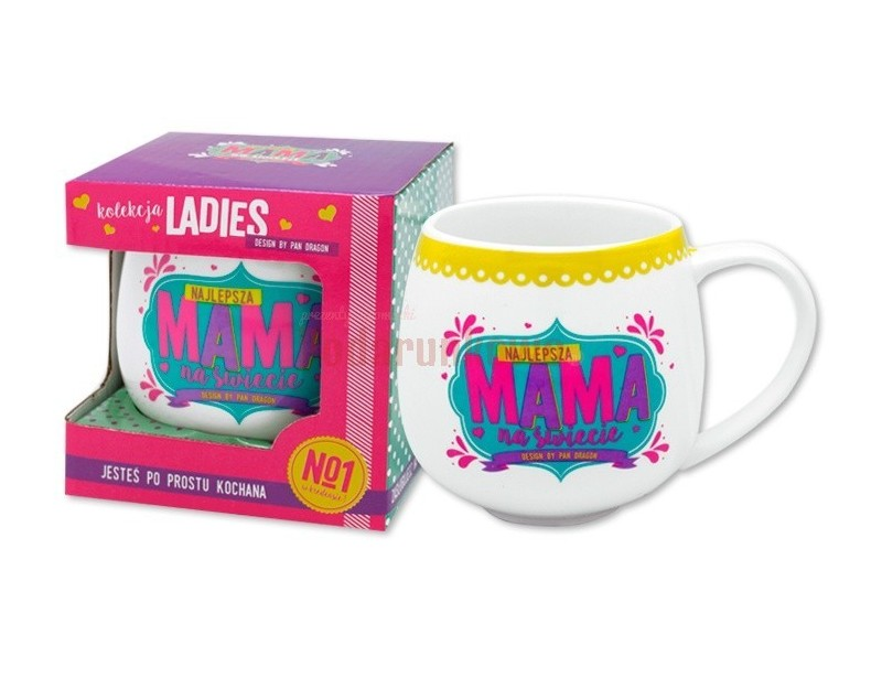 Kolorowy, ceramiczny kubek z pewnością sprawdzi się, jako prezent dla naszej mamy.