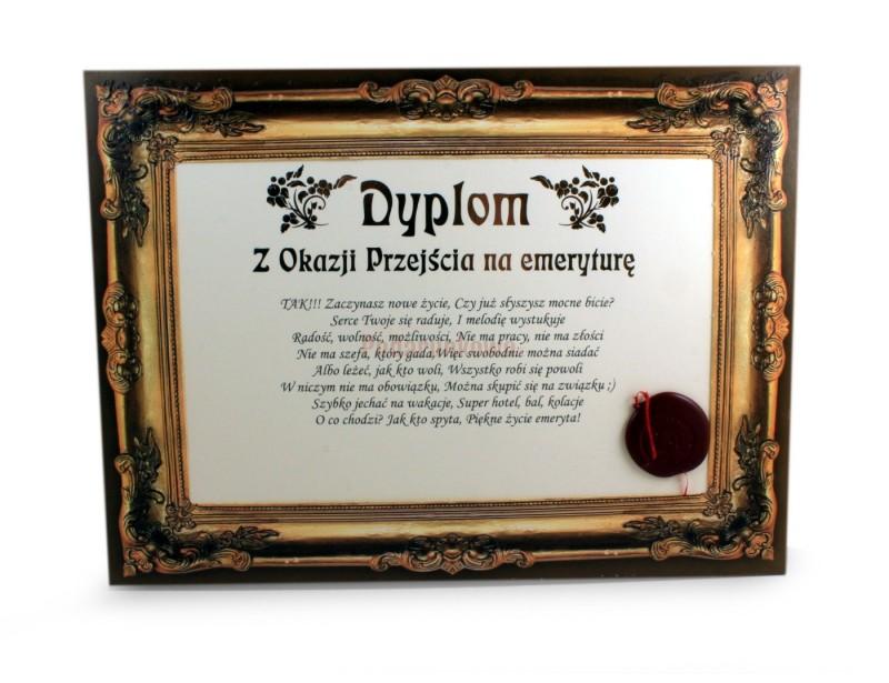 Certyfikat Dyplom Z Okazji Przejścia Na Emeryturę Prezenty Upominki Podarunkowopl