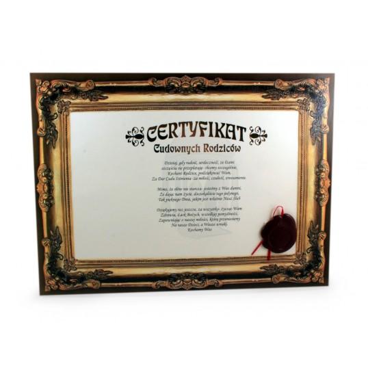 Certyfikat - Cudownych Rodziców