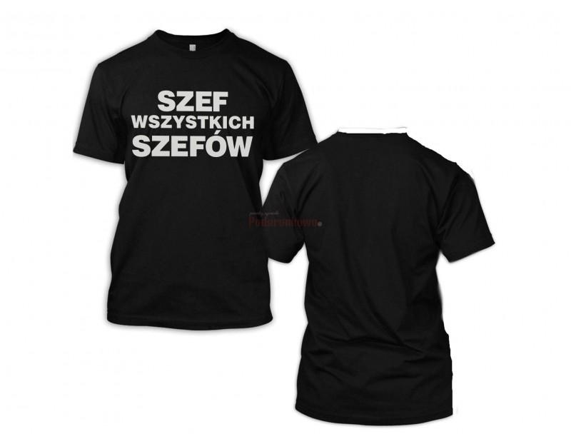 """Wysokiej jakości koszulka męska ze śmiesznym nadrukiem. Wyjątkowy i oryginalny napis na koszulce """"Szef wszystkich szefów"""" bez wątpienia wywoła uśmiech na twarzy wszystkich wokoło."""