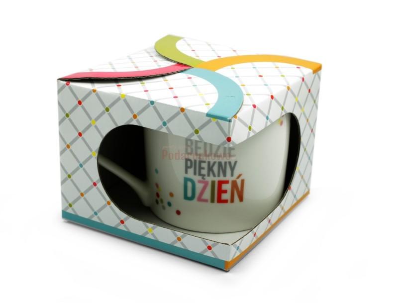 """Oryginalny, ładny kubek z optymistycznym napisem """"To będzie piękny dzień"""" pozytywnie nastroi nas każdego poranka :)"""