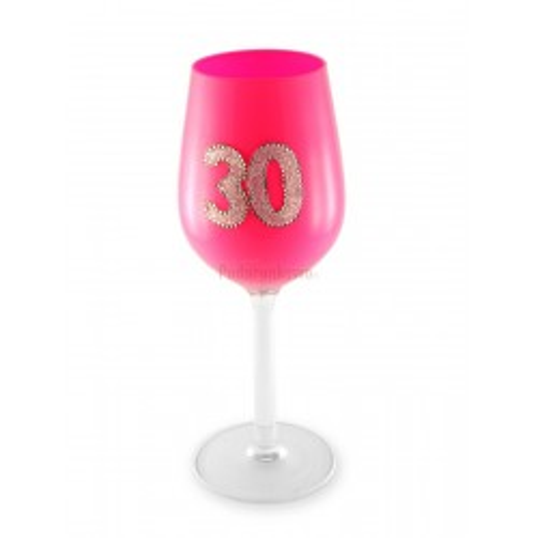 Kieliszek do wina - 30 urodziny (różowy)