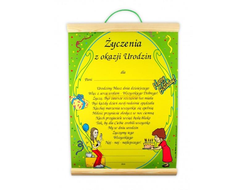 Dyplom charakteryzuje się ciekawą i kolorową grafiką. Wykonany jest na papierze ozdobnym, z dodatkami drewna. Wspaniały prezent dla kobiety na urodziny.
