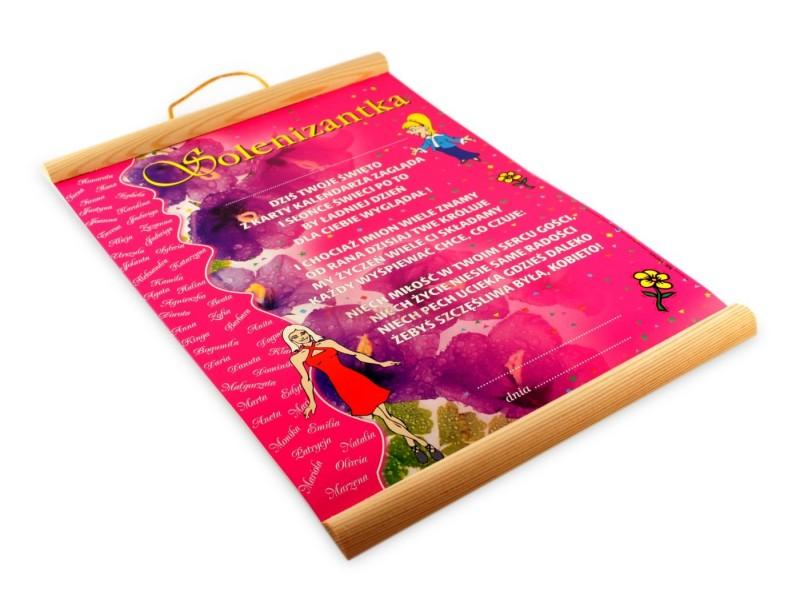 Prezentowany dyplom jest świetnym pomysłem na prezentem z okazji imienin :) Dyplom wykonany jest na ozdobnym papierze formatu A4 z dodatkami drewna.