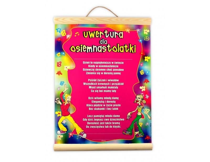 Symboliczny dyplom z okazji 18 urodzin dla dziewczyny :) Dyplom charakteryzuję się ładną, kolorową grafiką i oryginalnymi życzeniami.