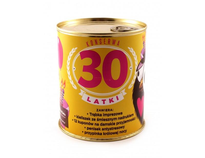 Konserwa na 30-stkę to pomysłowy gadżet dla każdej kobiety z poczuciem dobrego humoru :) Jest oryginalnym prezentem na 30-stkę