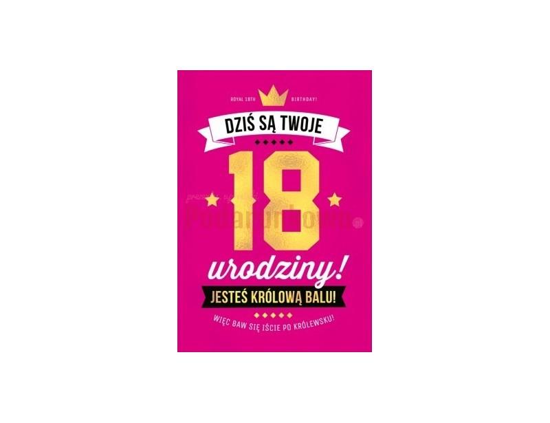 Mega duża kartka okolicznościowa w soczystym różowym kolorze, pięknie wykonana i z oryginalnymi napisami jest idealnym upominkiem z okazji 18-stki :)