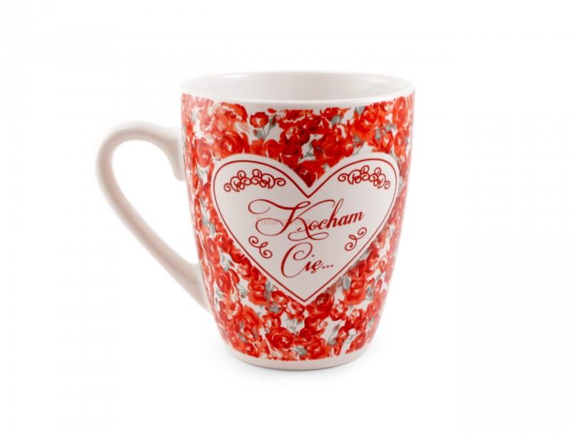 """Jaki jest? Jest piękny, wyrazisty, wyjątkowy, idealny i wymarzony :) Tak właśnie prezentuje się nasz ceramiczny kubek z napisem """"Kocham Cię""""."""