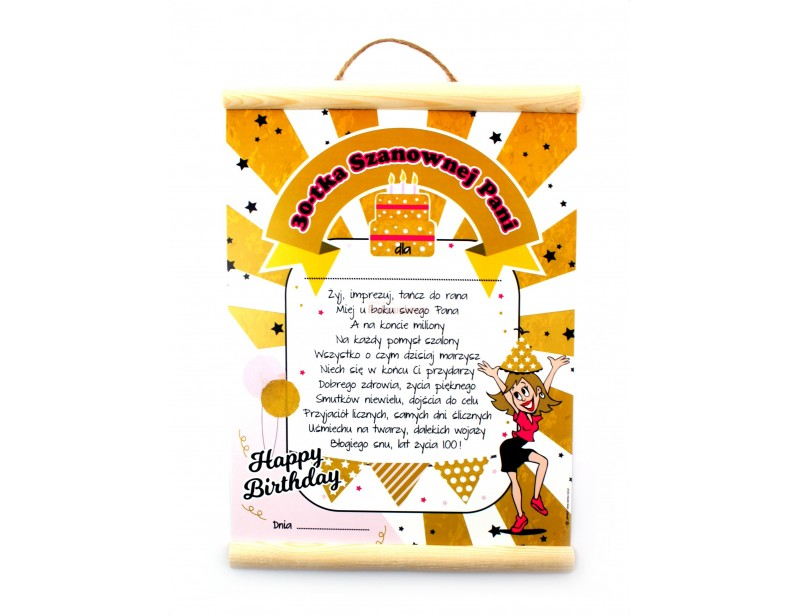Szukasz oryginalnego dodatku do prezentu na 30 urodziny dla kobiety? To jest właśnie to :) Stylowy, ładnie wykonany dyplom z zabawnymi życzeniami to strzał w dziesiątkę!