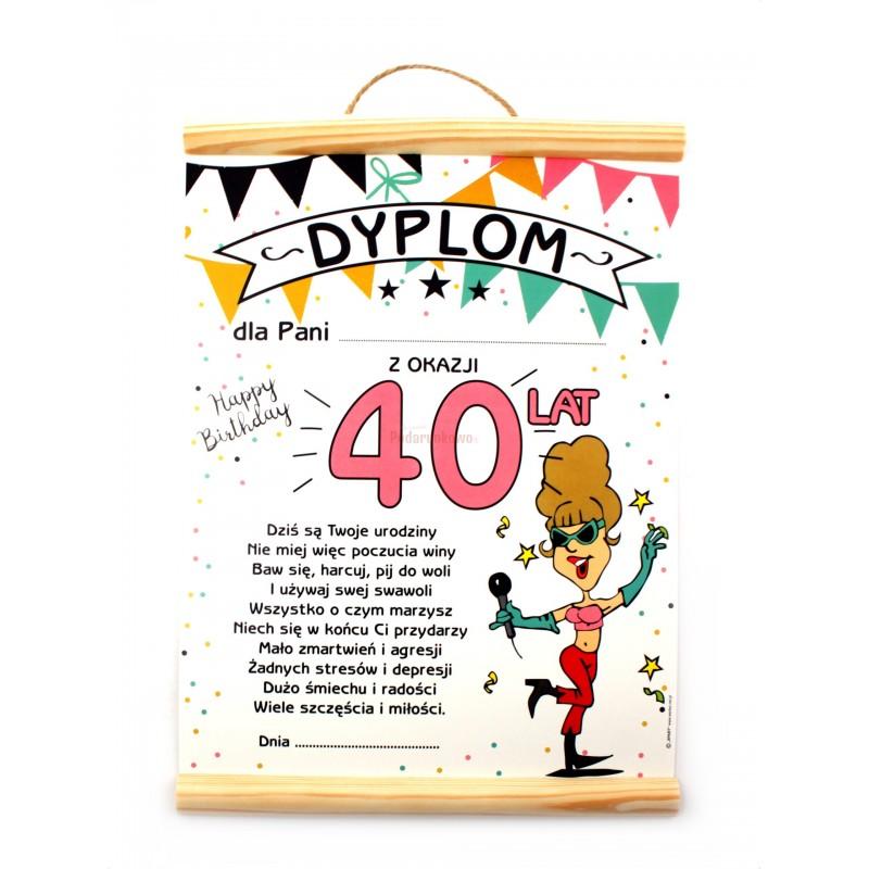Dyplom Na 40 Urodziny Dla Kobiety Prezenty Upominki