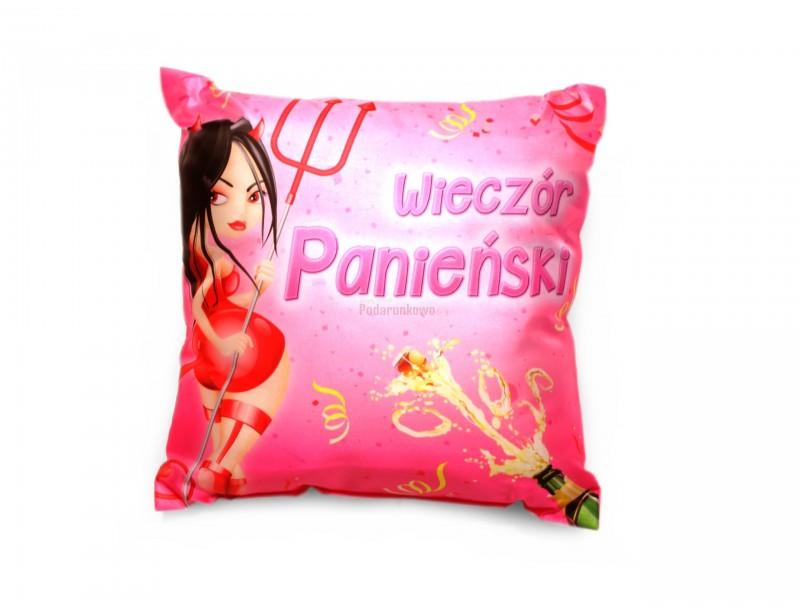 Śliczna, różowa poduszka dekoracyjna to wspaniała pamiątka z wieczoru panieńskiego.