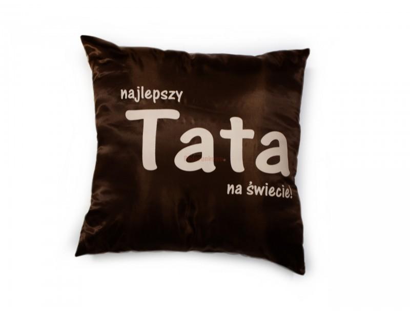 Elegancka poduszka w kolorze brązowo-beżowym to stylowy upominek dla ukochanego Taty.