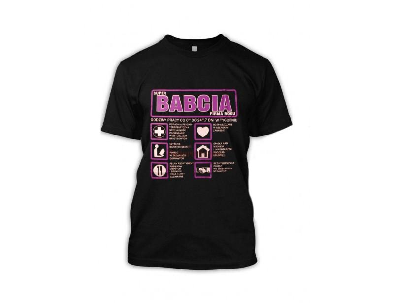 Bardzo dobrej jakości koszulka ze śmiesznym nadrukiem Babcia Sp. z o.o. Każda Babcia będzie dumna z takiego prezentu i z radością będzie go nosić