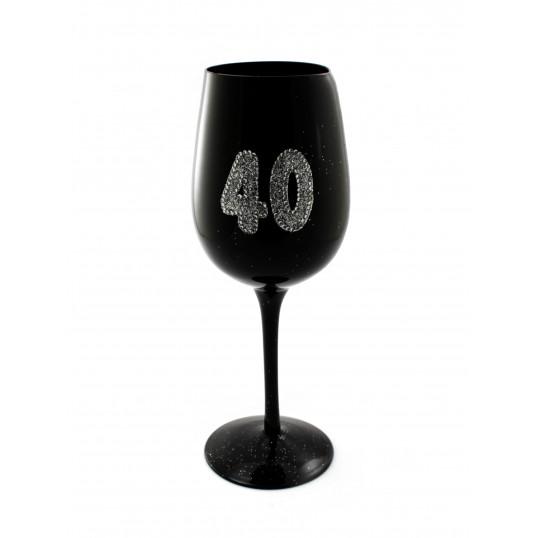 Kieliszek do wina - 40 urodziny (czarny)