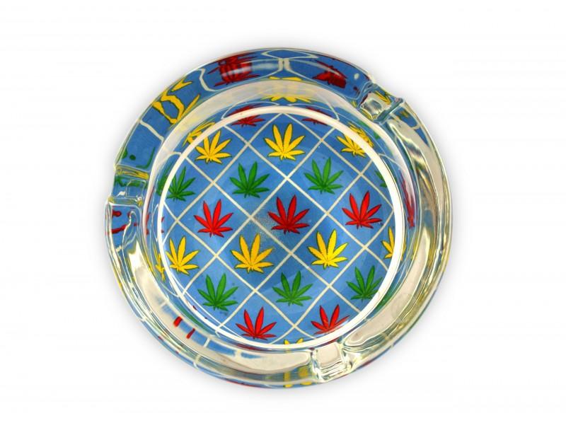 Stylowa, ładnie wykonana popielniczka z motywem cannabis.