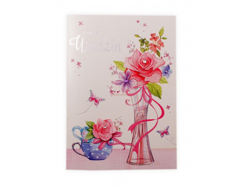 Karnet - Z okazji urodzin Kwiaty