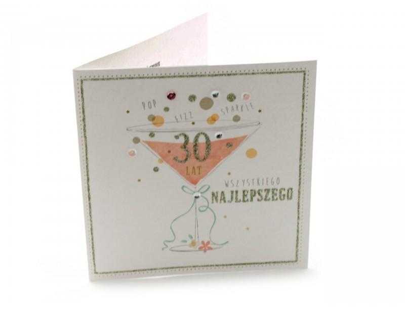 Elegancki, gustowny karnet wykonany z wysokiej jakości papieru - z oryginalną grafiką będzie idealnym dopełnieniem dla prezentu urodzionowego z okazji 30-stki.