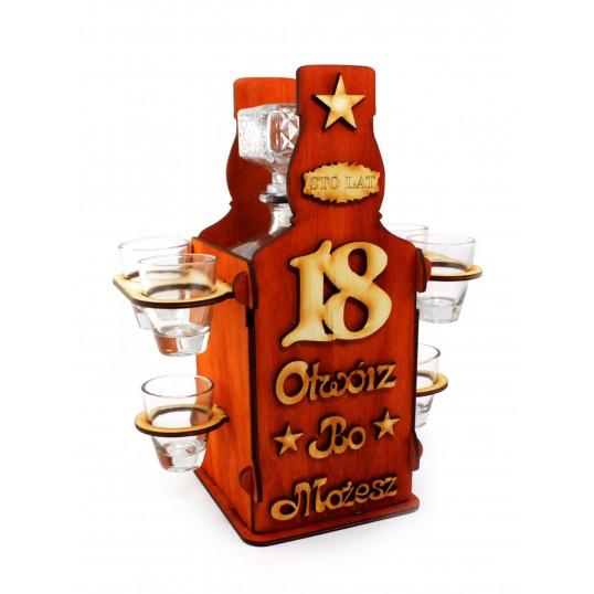 Drewniany stojak na 18 z karafką (butelka)