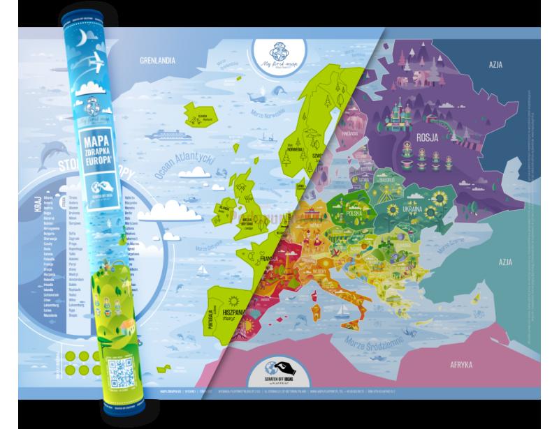 To kolorowa mapa zdrapka, która zachwyca swoim wykonaniem, różnorodnością i oryginalnością. Prezentowa mapa zdrapka przedstawia kontynent europejski podzielony na kraje.