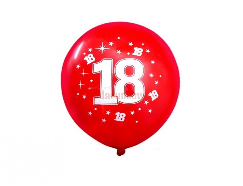 Zestaw 10 sztuk czerwonych balonów na 18 urodziny.