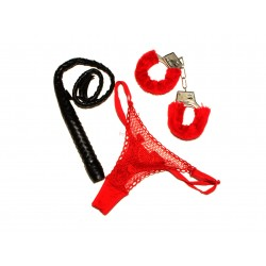 Zestaw na panieński (kajdanki + stringi + bicz)