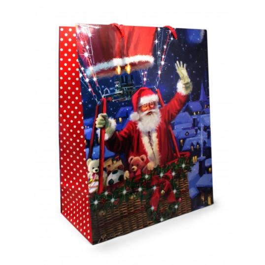 Torebka prezentowa - Mikołaj w balonie
