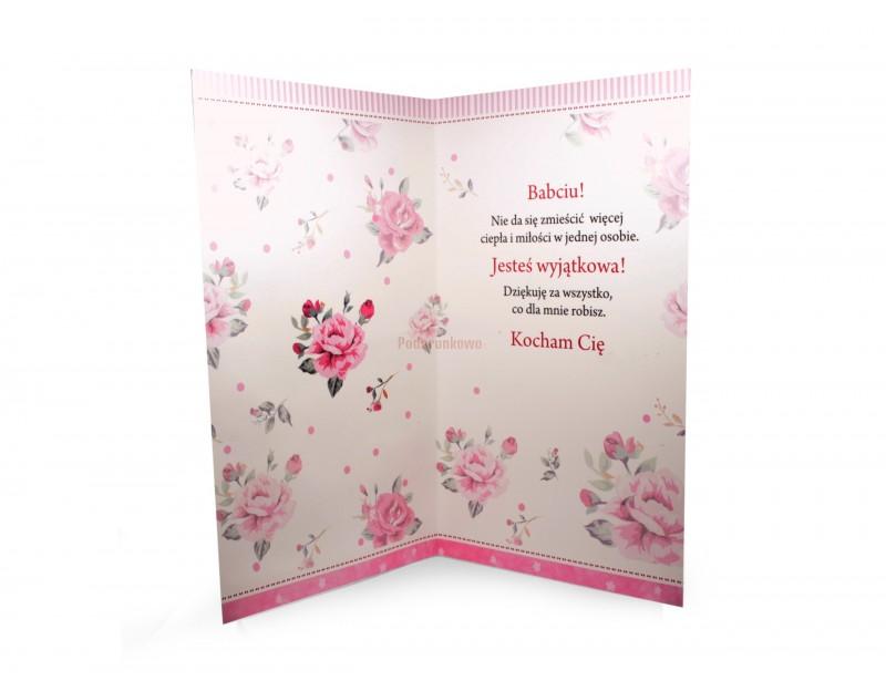 Duży, oryginalny karnet ozdobny z najlepszymi życzeniami dla ukochanej Babci będzie wspaniałą niespodzianką z okazji jej urodzin imienin lub z okazji Dnia Babci :)