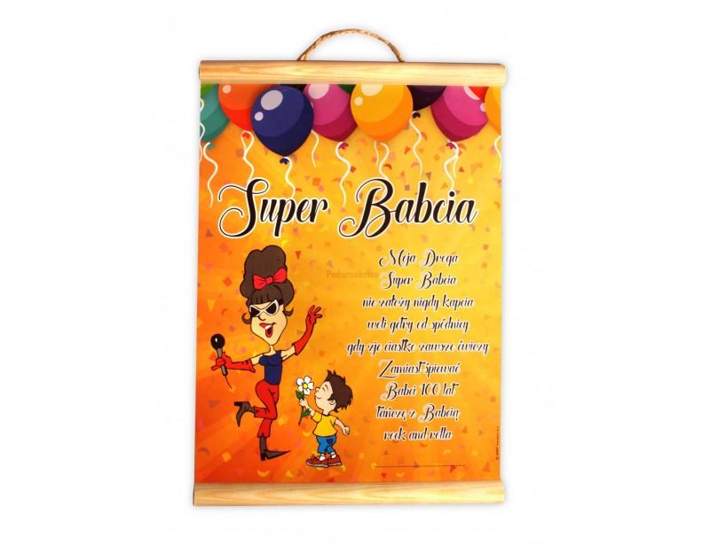 Humorystyczny dyplom z miłymi życzeniami dla ukochanej Babci :) To świetny prezent z okazji Dnia Babci lub z okazji jej urodzin lub imienin.