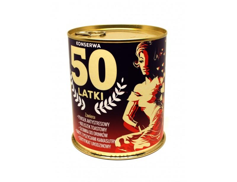 Konserwa na 50-tkę to pomysłowy gadżet dla każdej Kobiety z poczuciem humoru :) Jest oryginalnym prezentem na 50-tkę :)