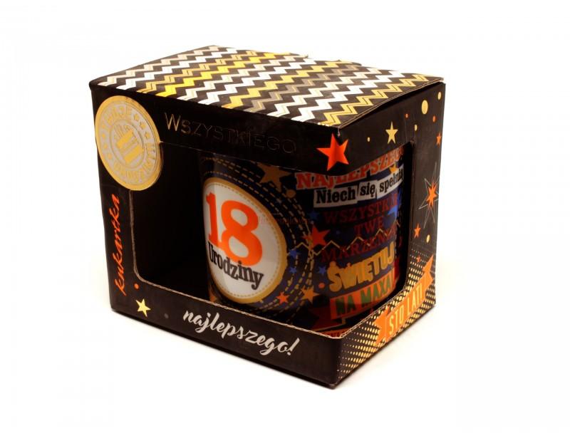 Kolorowy kubek porcelanowy to idealny prezent na osiemnastkę.