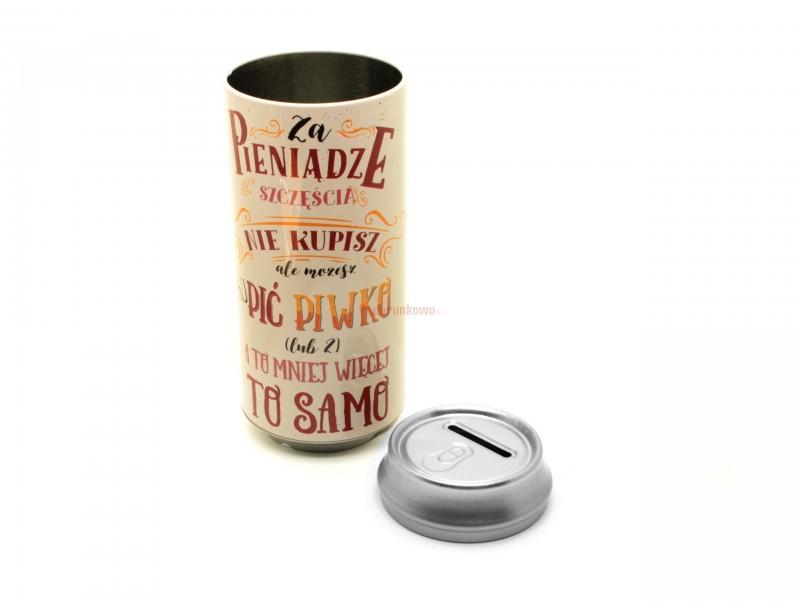 Humorystyczna skarbonka w kształcie puszki piwa to doskonały pomysł na prezent dla kolegi, brata, szefa, męża lub szwagra :)